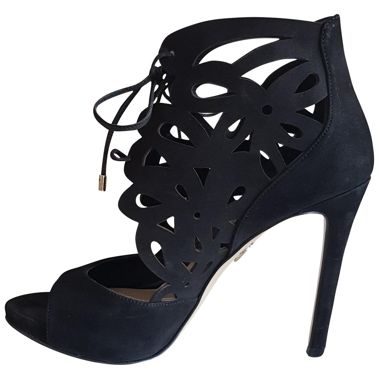 Guess - Sandales   pour femme en suede - noir