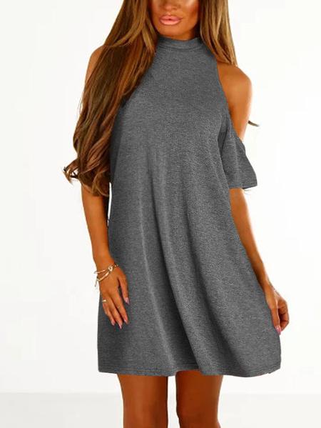 Yoins Grey Cold Shoulder Half Sleeves Dress