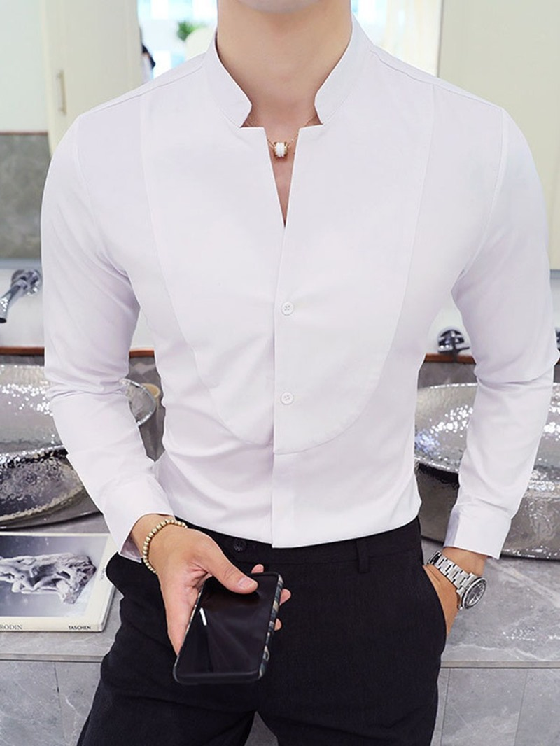 Ericdress Plain Casual Stand Collar Men's Slim Spring Shirt