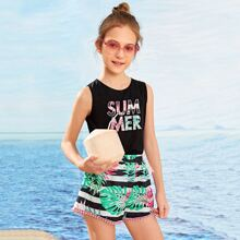 Girls Letter Graphic Tank Top & Tropical Shorts Set