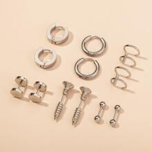 6pairs Guys Solid Earrings