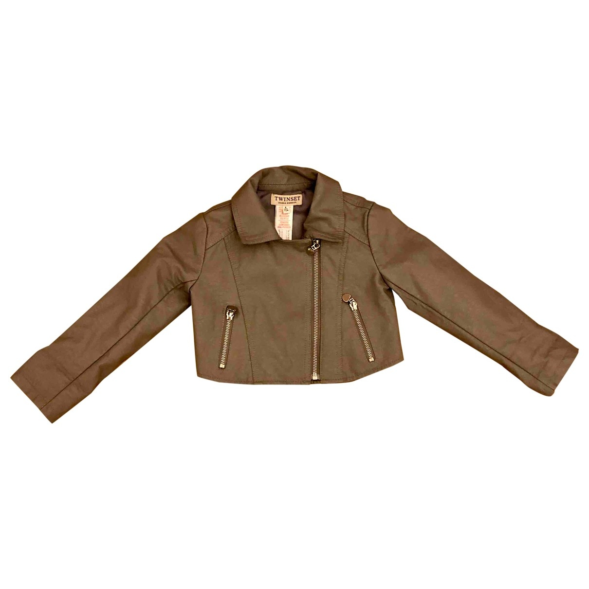 Twin Set \N Grey Leather jacket & coat for Kids 4 years - up to 102cm FR
