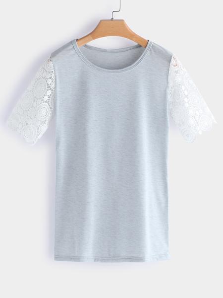 Yoins Grey Lace Insert Plain Crew Neck Short Sleeves T-shirt