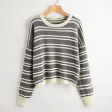 Striped Drop Shoulder Oversized Sweater