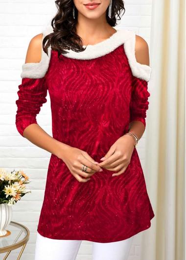 Fur Collar Cold Shoulder Red Velvet T Shirt - XL