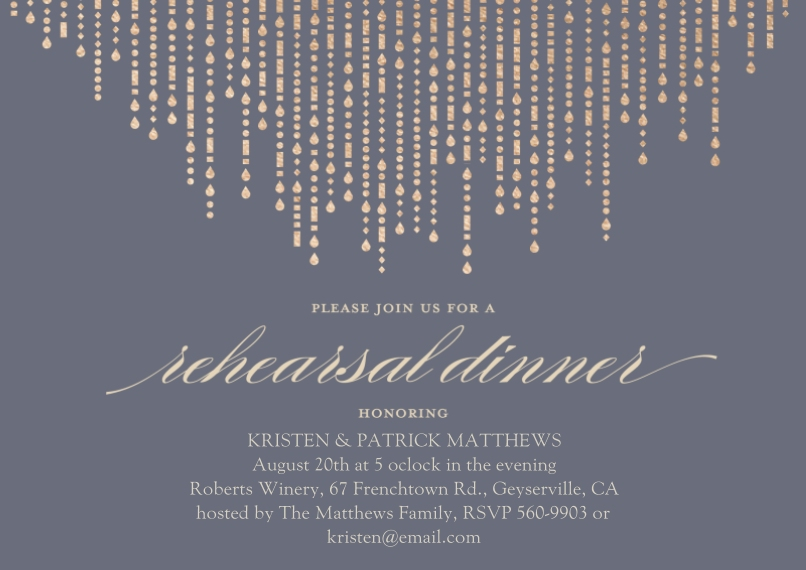 Rehearsal Dinner Invites Flat Glossy Photo Paper Cards with Envelopes, 5x7, Card & Stationery -Metallic Garland - Rehearsal Dinner Invitation