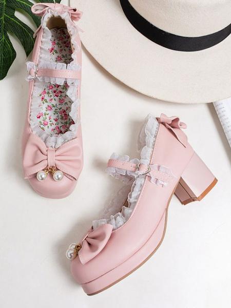 Milanoo Sweet Lolita Pumps Pink Bows Lace Round Toe PU Cuero Lolita Zapatos