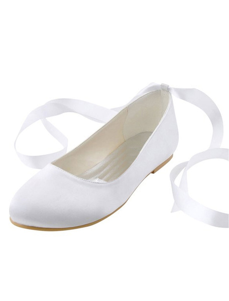Milanoo White Wedding Shoes Silk Round Toe Ribbons Lace Up Slip On Bridal Flat Pumps