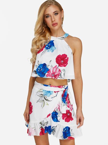 Yoins White Wrap Design Random Floral Print Halter Two Piece Outfits