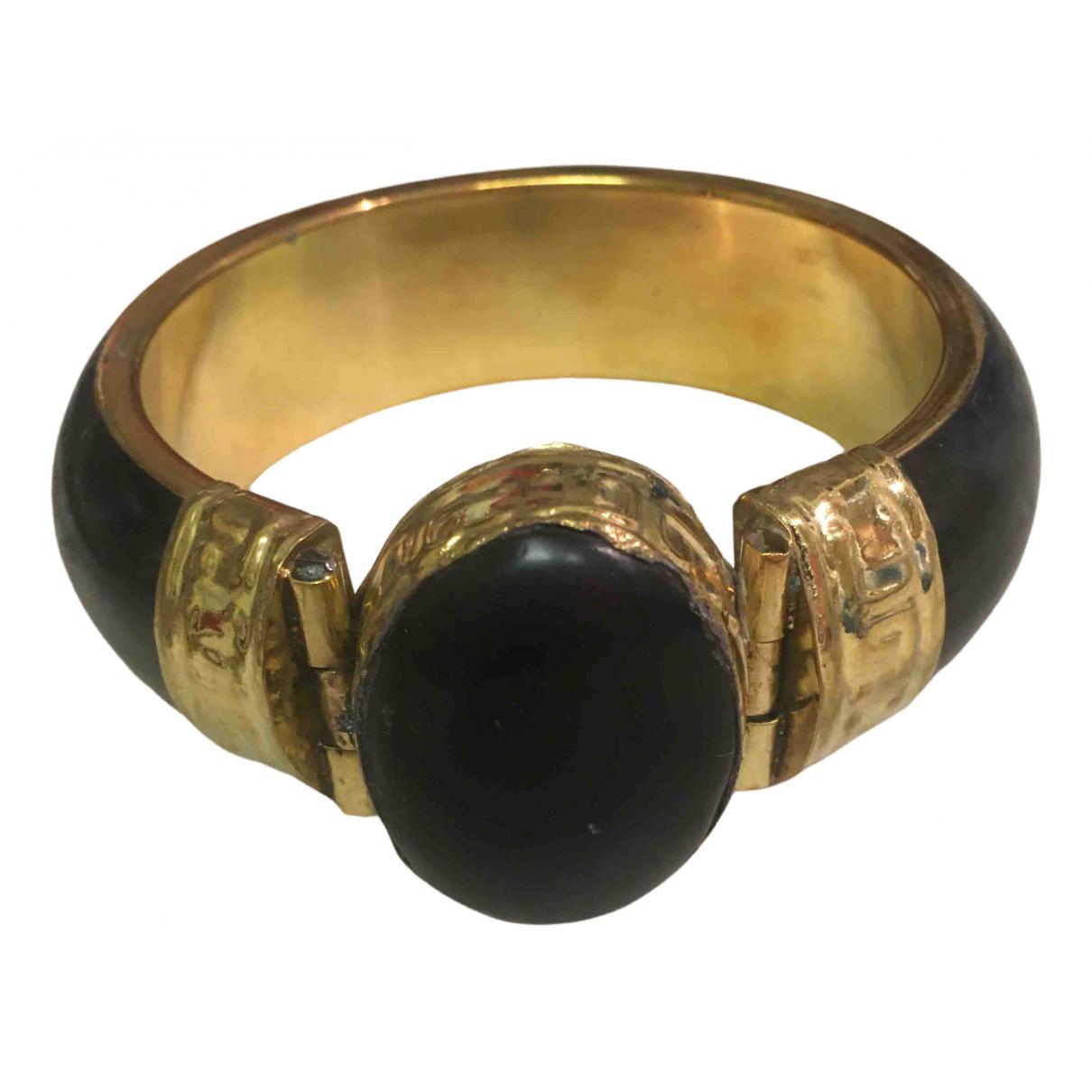 Non Signé / Unsigned Motifs Ethniques Black Horn bracelet for Women N