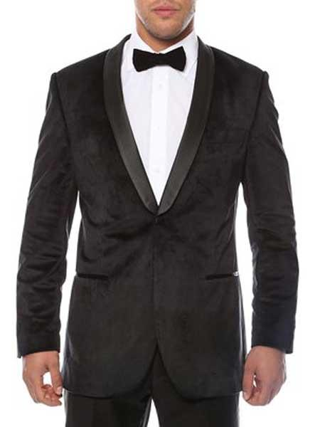 Mens 1Button Velvet Velour With  2Toned With Black Lapel Side Vented