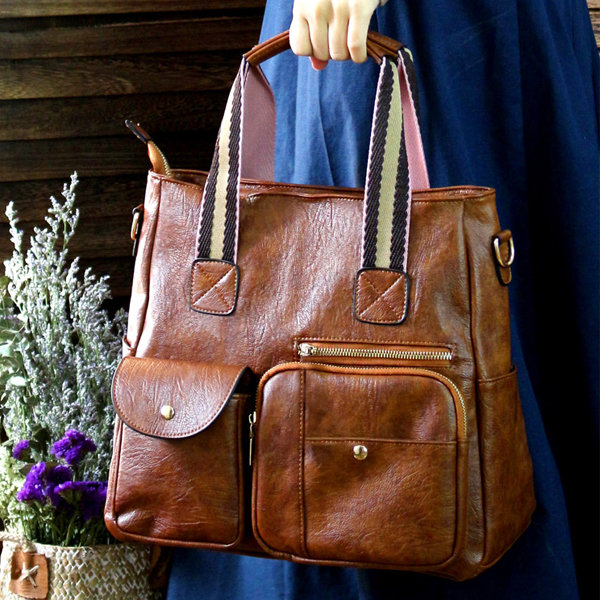 Women Casual Faux Leather Buckle Tote Handbags Shoulder Bags