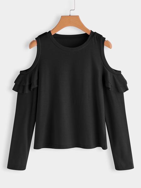 Yoins Black Flounced Details Plain Round Neck Long Sleeves T-shirts