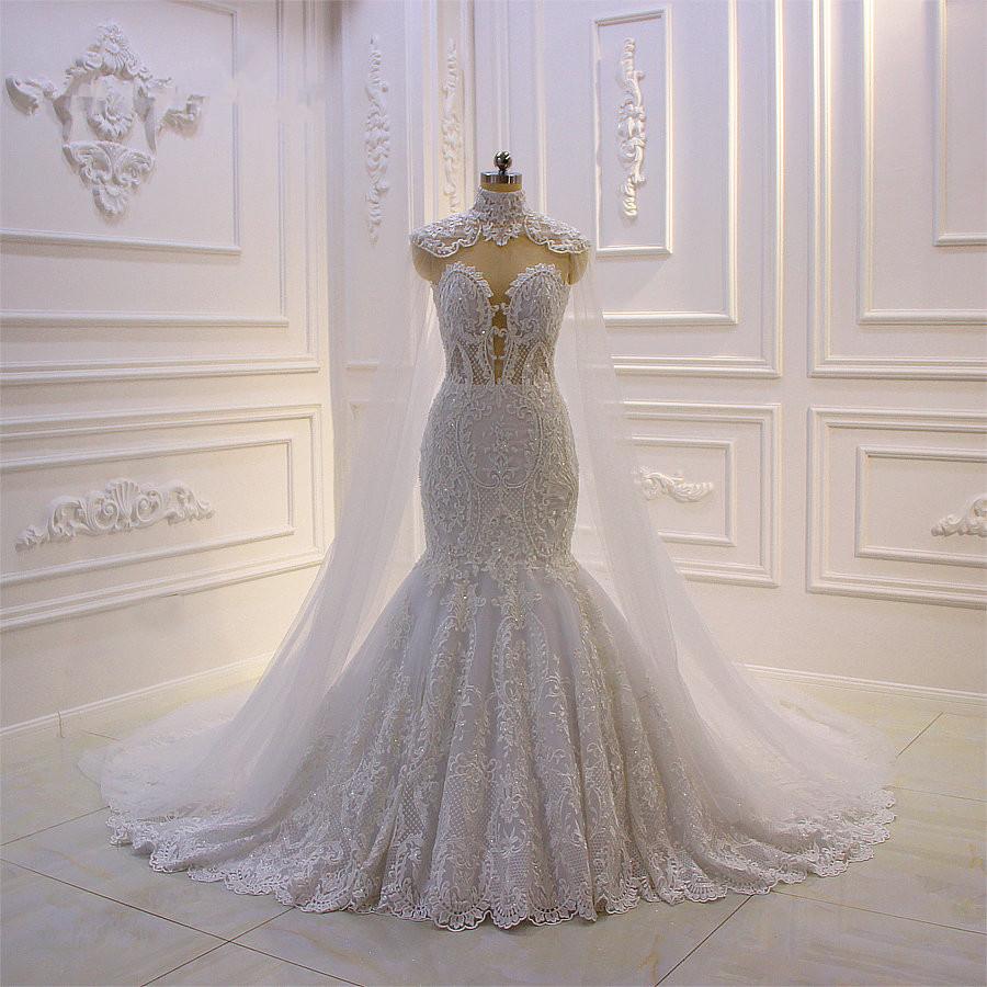 Luxus 3D Spitze Applique High Neck Tuell Meerjungfrau Brautkleid