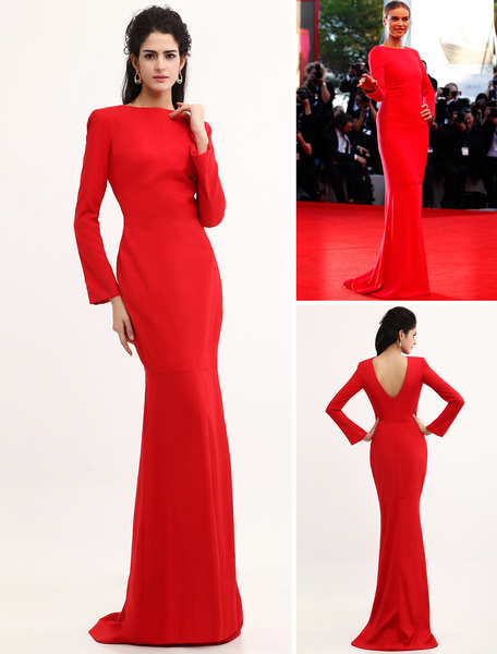 Milanoo Celebrity Dresses Red Evening Dress Mermaid Backless Satin Dress Wedding Guest Dress