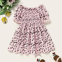 Toddler Girls Leopard Shirred Frill Trim A-line Dress