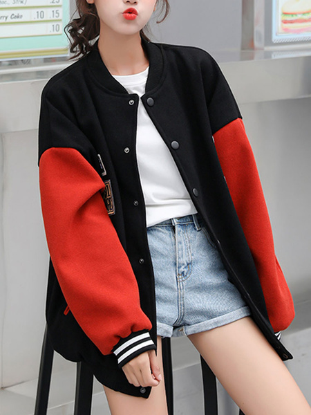 Milanoo Women Bomber Jackets Black Jewel Neck Long Sleeve Cotton Short Jacket