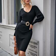 Pullover Kleid mit Laternenaermeln ohne Guertel