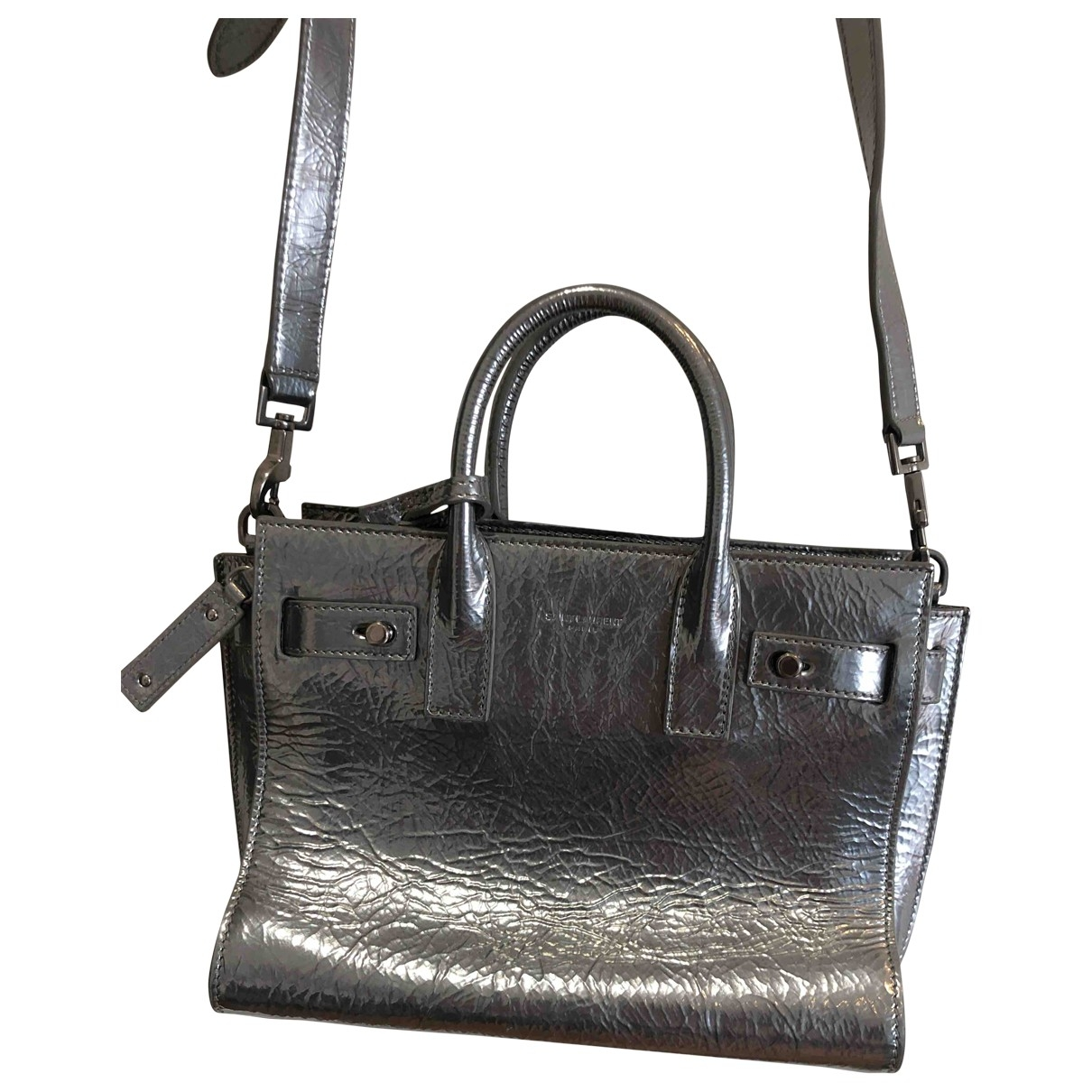 Saint Laurent Sac de Jour Handtasche in  Silber Lackleder
