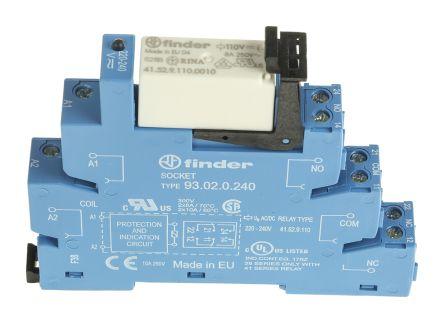 Finder , 230V ac/dc DPDT Interface Relay Module, Screw Terminal , DIN Rail