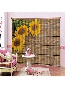 3D Thick Polyester Blackout Curtain with Retro Wooden Doors and Sunflowers Pattern Environment-Friendly and Pollution-Free Material No Pilling No Fadi