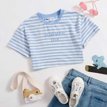 Girls Letter Embroidery Striped Crop Top