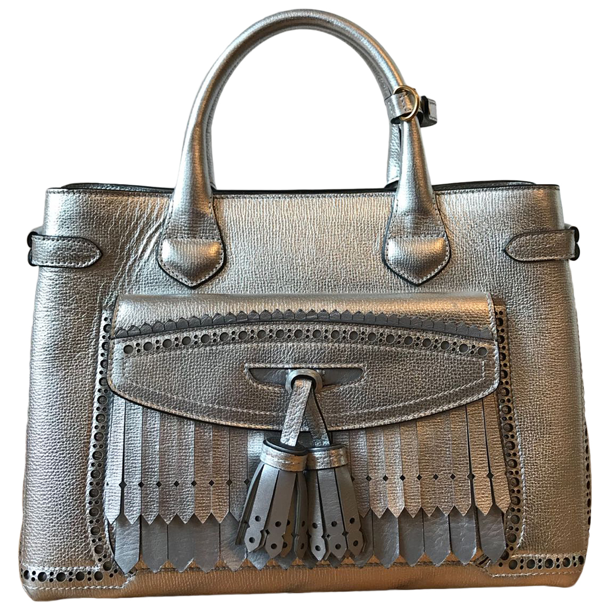 Burberry The Banner  Handtasche in  Silber Leder