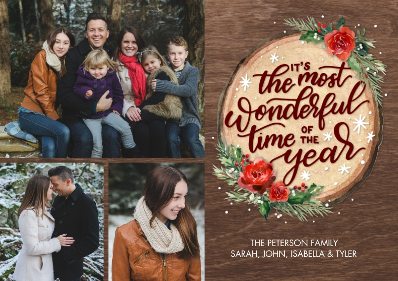 Christmas Photo Cards 5x7 Cards, Premium Cardstock 120lb, Card & Stationery -Christmas Floral Wood Plaque by Tumbalina