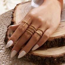 7pcs Solid Hollow Out Ring