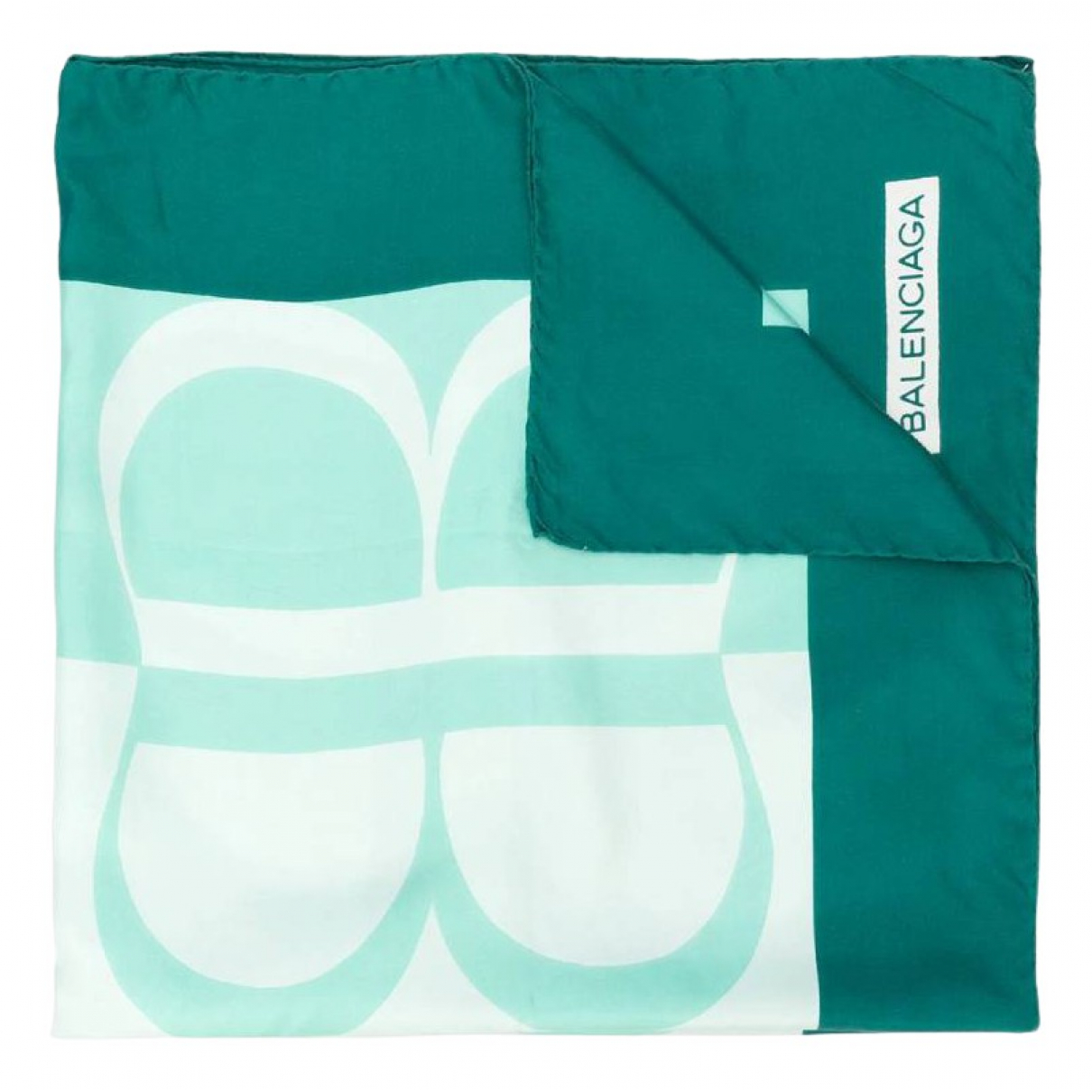 Balenciaga - Foulard   pour femme en soie - turquoise