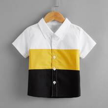 Toddler Boys Color-block Button Up Shirt