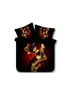 Music Notes and Butterfly Printed Cotton 4-Piece Black 3D Bedding Sets/Duvet Covers