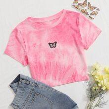 T-Shirt mit Batik und Schmetterling Stickereien
