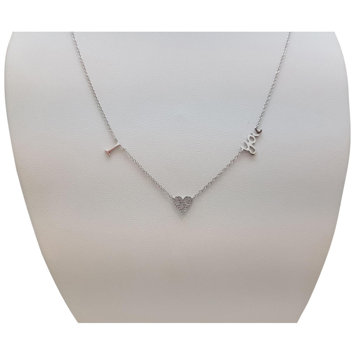 Non Signe / Unsigned Motifs Coeurs Kette in  Weiss Weissgold