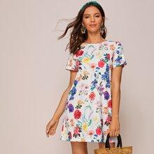 Floral Print Mini Shift Dress