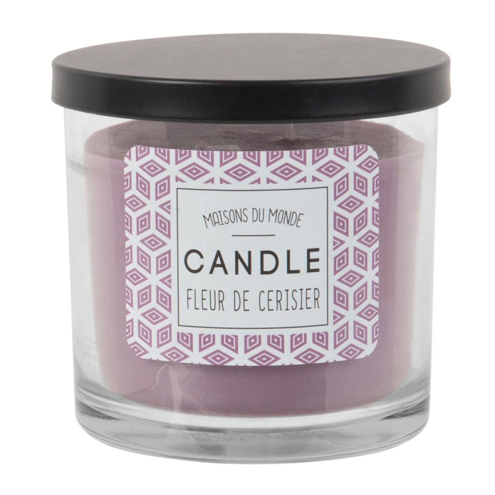 Duftkerze im Glasbehaelter, violett