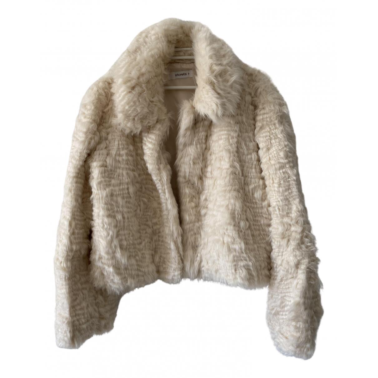 Storets - Manteau   pour femme en fourrure synthetique - ecru