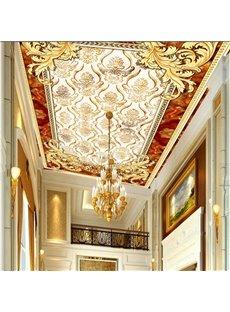 3D Golden Pattern PVC Waterproof Sturdy Eco-friendly Self-Adhesive Ceiling Murals