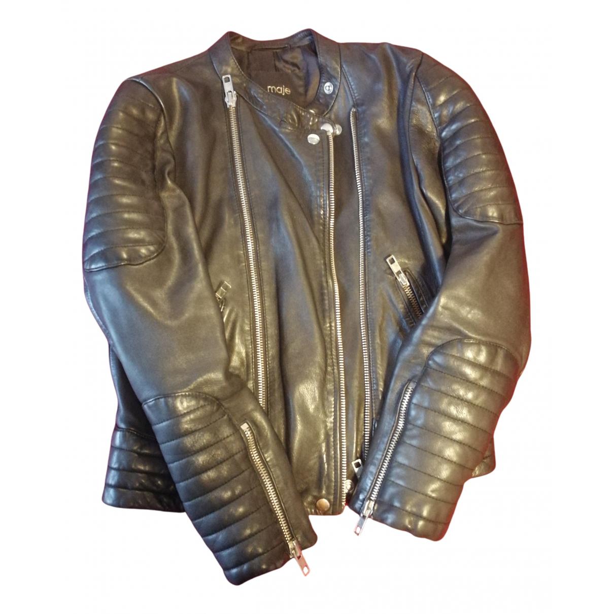 Maje N Black Leather jacket for Women 38 FR