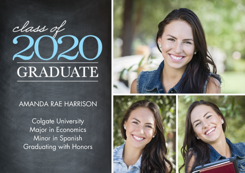 2020 Graduation Announcements Flat Matte Photo Paper Cards with Envelopes, 5x7, Card & Stationery -Graduate Class of 2020 by Tumbalina