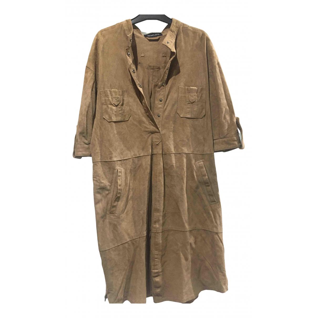 Massimo Dutti - Robe   pour femme en cuir - beige