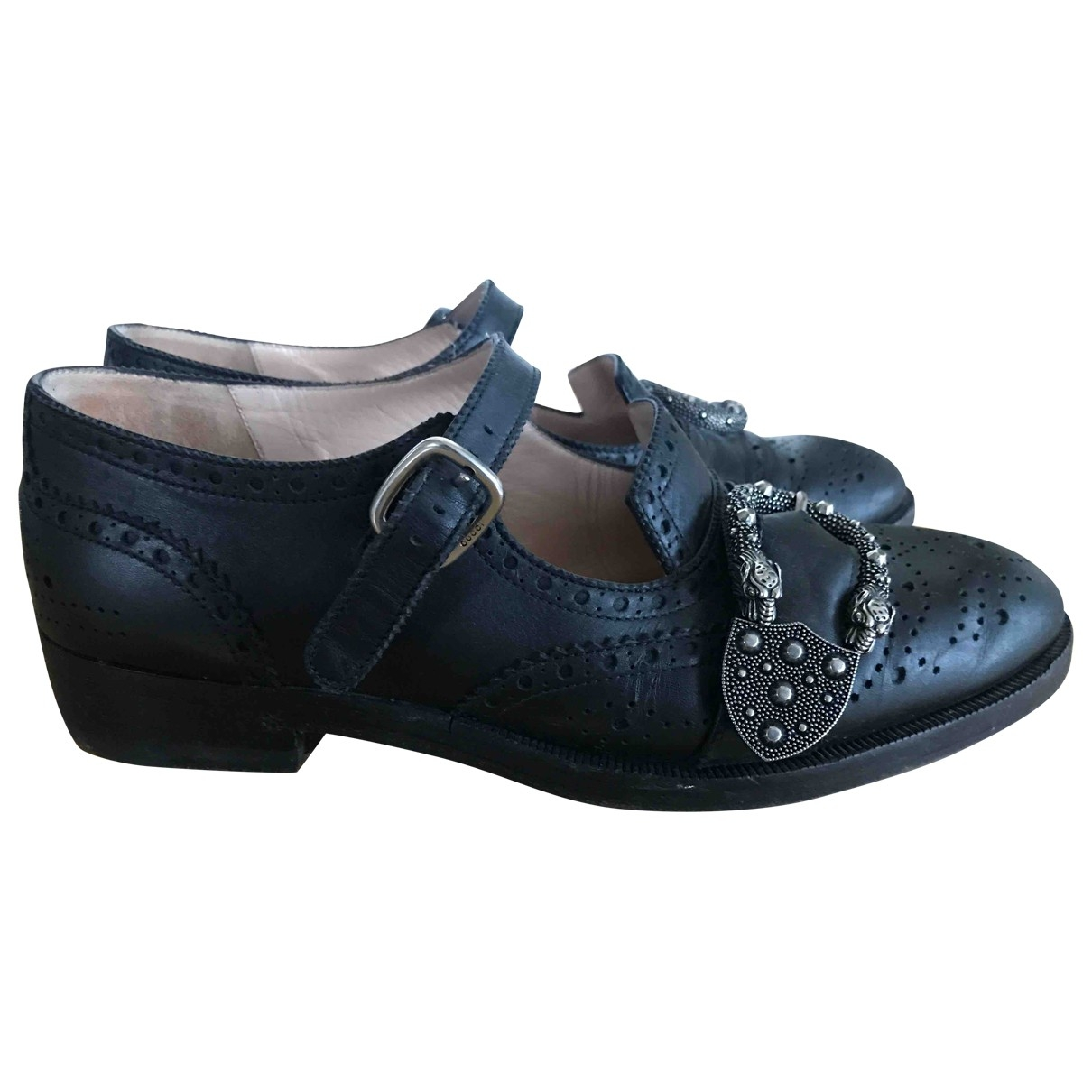 Gucci Queercore Black Leather Flats for Women 38.5 EU