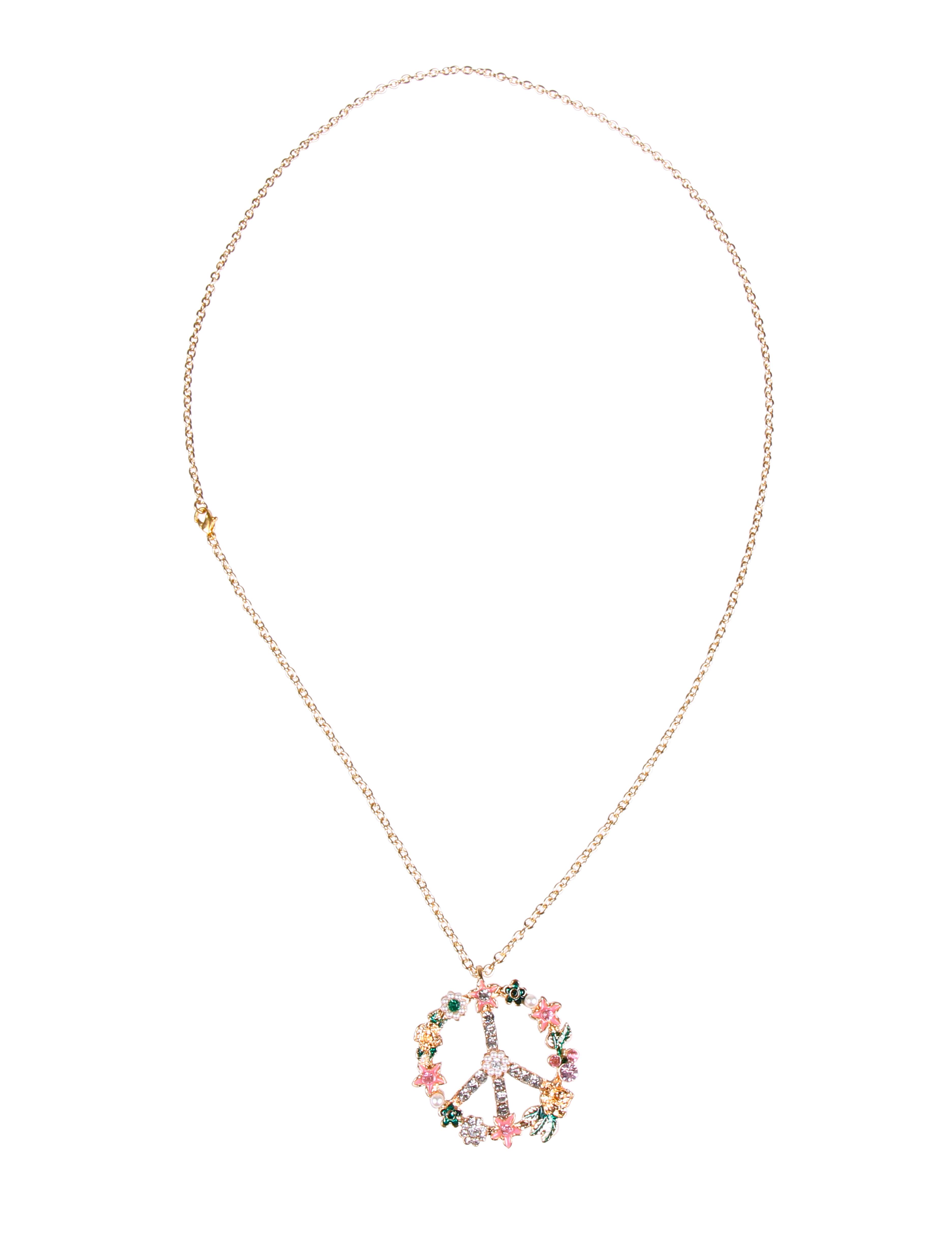 Kostuemzubehor Halskette Peace de luxe mit Strass & Perlen Farbe: gold