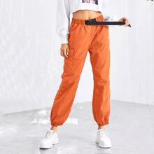 Push Buckle Belt Front Elastic Hem Pants