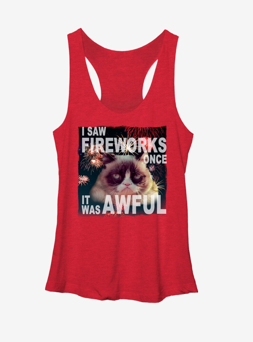 Grumpy Cat Firework Fail Womens Tank