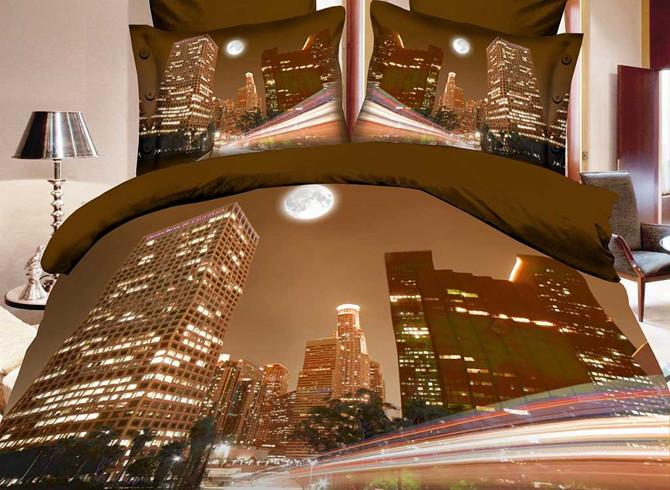 Modern Beautiful City 4 Piece Polyester 3D Bedding Sets