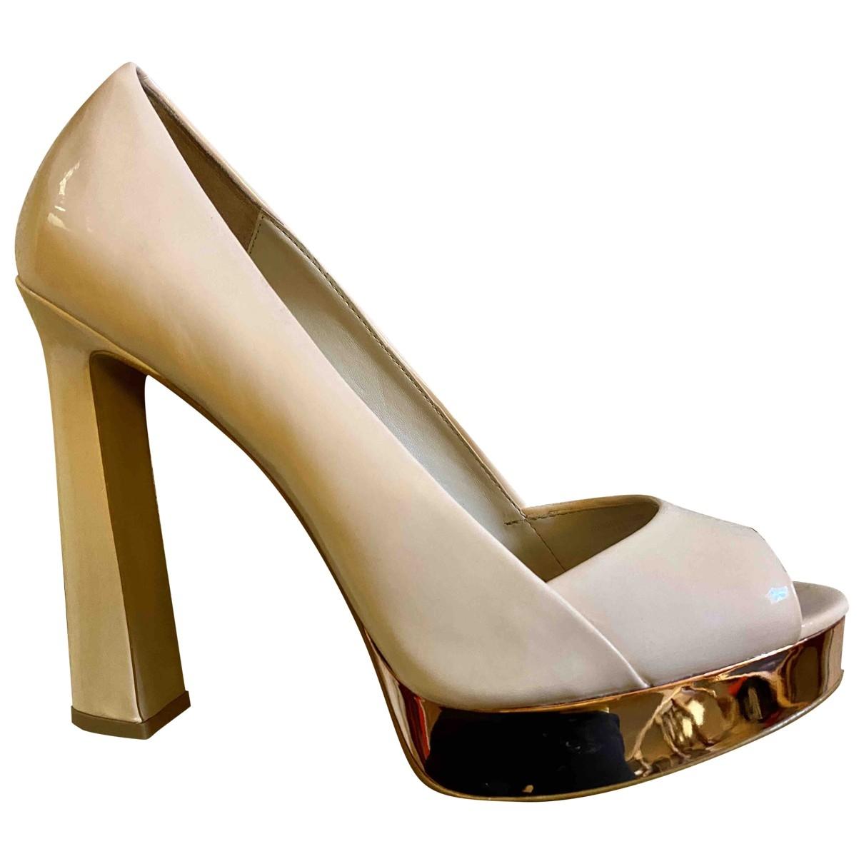 Zara \N Beige Patent leather Heels for Women 40 EU