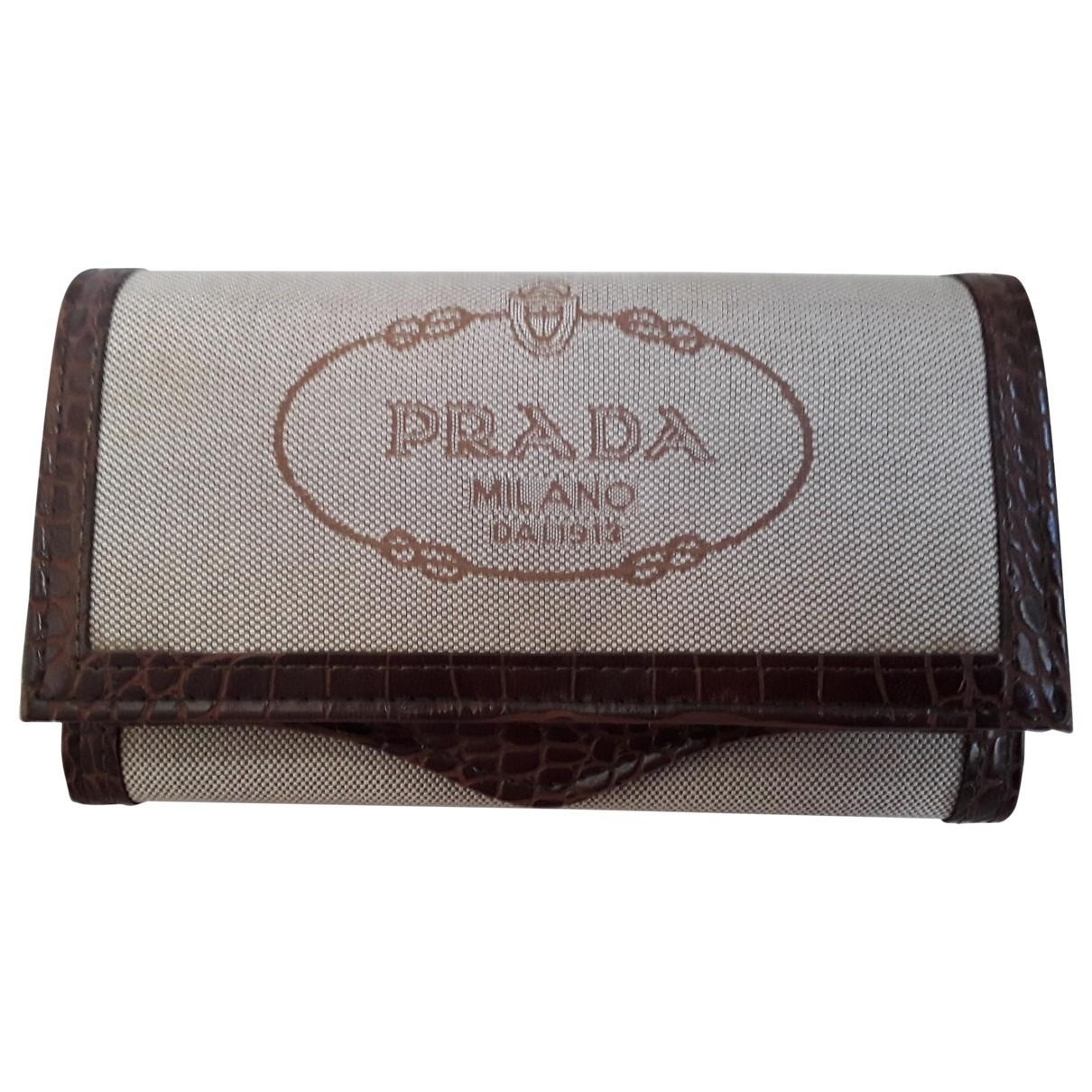 Prada - Portefeuille   pour femme en toile - beige