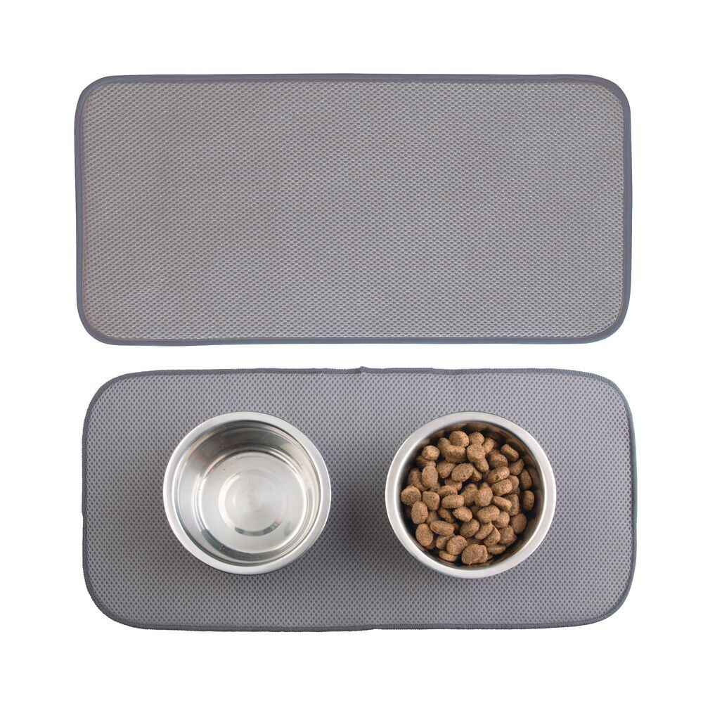 Small Microfiber Pet Food and Water Bowl Mat/Ivory - Pack of in Pewter, 18