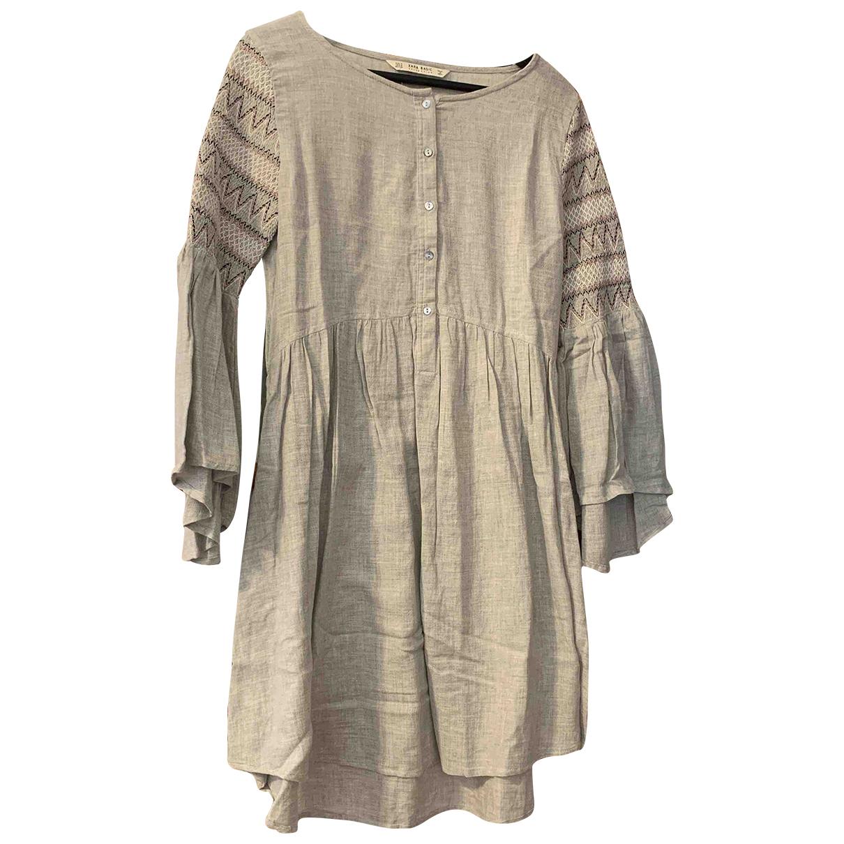 Zara \N Kleid in  Grau Baumwolle